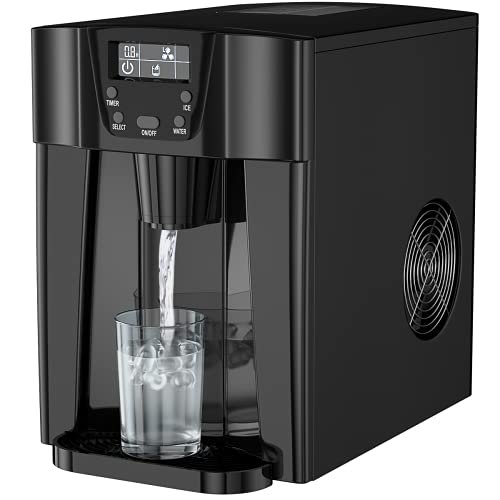 Simoe 2 in 1 Ice Maker Machine, Countertop Ice Cube Maker with Water Dispenser, 9 PCs Ready in 6min-12mins, 36lbs/24H, LED Display, Perfect for Home/Kitchen/Office - Black