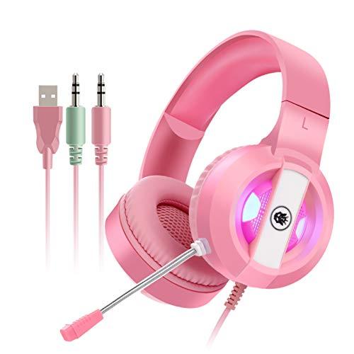 QUANXI S300 Headset Gamer com fio com microfone, Fone de ouvido com microfone Unidade de alto-falante grande de 50 mm, graves surround estéreo,fones de ouvido com cancelamento de ruído para jogos (Cor de rosa)
