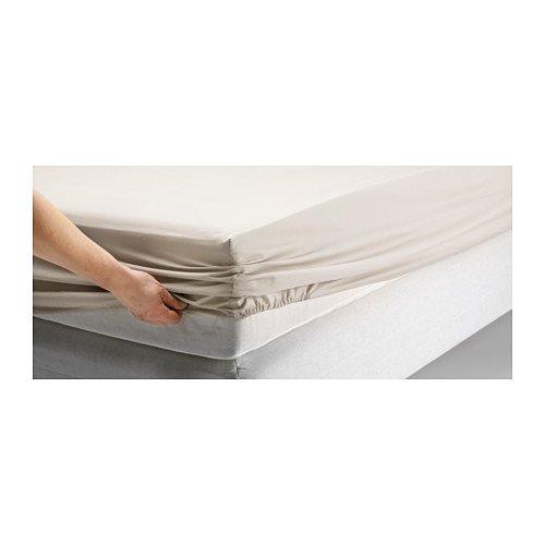Ikea Dvala Spannbettlaken, 100 % Baumwolle, Beige