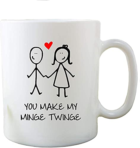 N\A Taza Divertida de la Novedad You Make My Minge Twinge Gift Joke Boyfriend Cups, Cerámica, Blanco, 11 oz