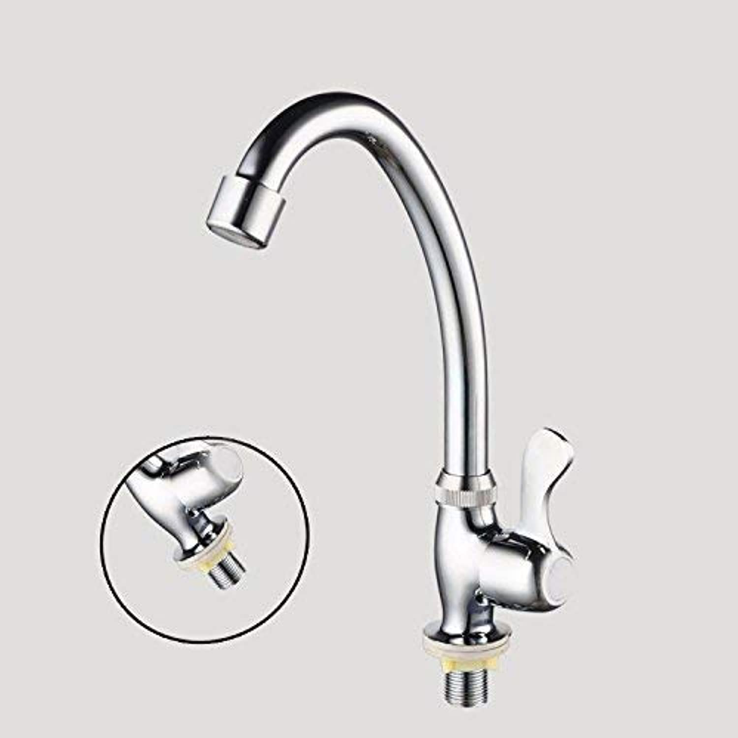 Ywqwdae Kitchen Bathroom Can Be redated Wash Basin Single Cold Single Handle Single Hole Stainless Steel Sink Faucet