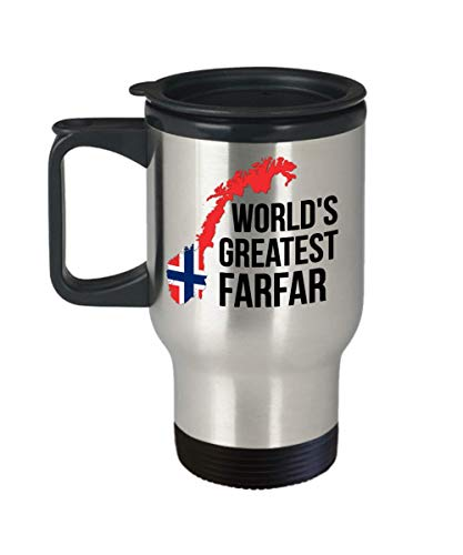 Norway Travel Mug - Farfar Norwegian Flag Insulated Portable Coffee Cup For Men - Best Birthday Fathers Day Christmas Gift For Scandinavian Heritage Grandfathers - Proud Nordic Viking Lover