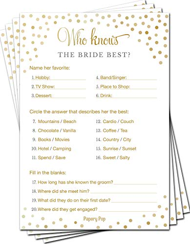 Who Knows the Bride Best (Pack of 50) - Bridal Shower Games - Wedding Shower Games - Bachelorette Party Games - Gold