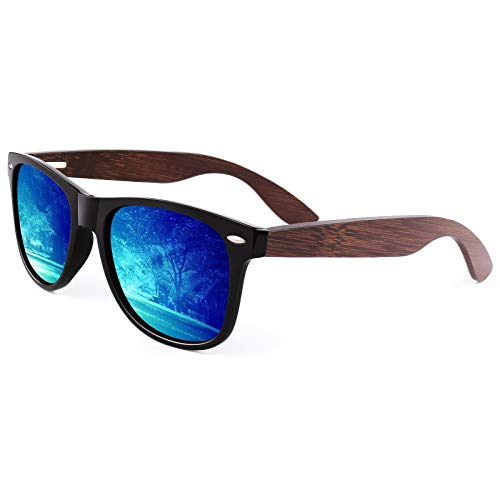 CGID Holz Polarisierte Sonnenbrille Herren Damen Verspiegelt Original UV400 CAT 3 M08