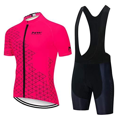ZEMER Conjunto Ropa Equipacion Traje Ciclismo Hombre para Verano, Maillot Ciclismo Hombre+Culotte Ciclismo Culote Bicicleta,A,XL
