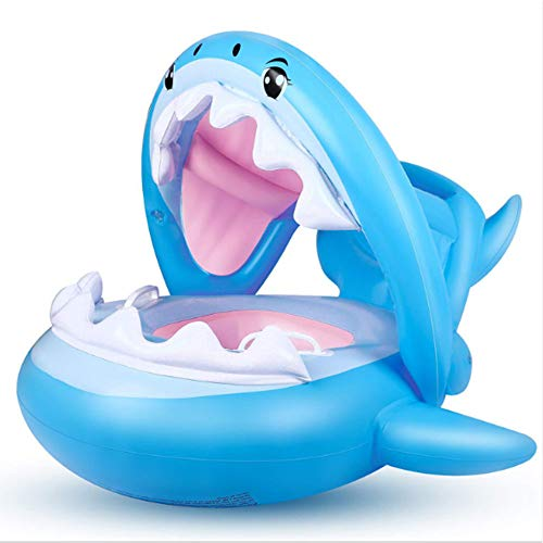 Fang zhou Aufblasbarer Babyschwimmring, abnehmbare Sonnenblende Schwimmt Ring Sicherheitsgurt Badewanne Pool Niedliche Haifischform Geeignet für 6-36 Monate Säugling