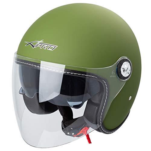 Motorhelm Jet Helmet City Retrò ECE 22-05 dubbel vizier scooter 61-62 cm (XL) Mat groen