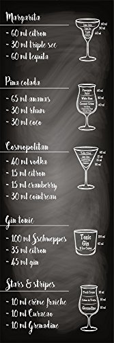 Plage KÜCHE Sticker Cocktail Recipes, Vinyl, Black, 180 x 0,1 x 59,5 cm