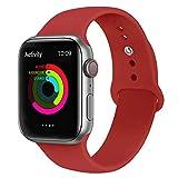 VIKATech Correa de Repuesto Compatible con Apple Watch de 44 mm 42 mm, Correa de Silicona Suave de Repuesto para iWatch Series 4/3/2/1, S/M, Red