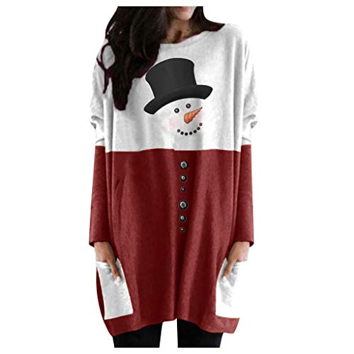 Christmas Tunics for Women to Wear with Leggings Cute Snowman Printed Crewneck Long Sleeve Fall Tops with Pockets Red