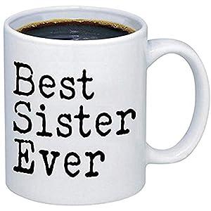 Tazas divertidas Tazas de café de cerámica de la mejor hermana de la historia M121 (11 oz)