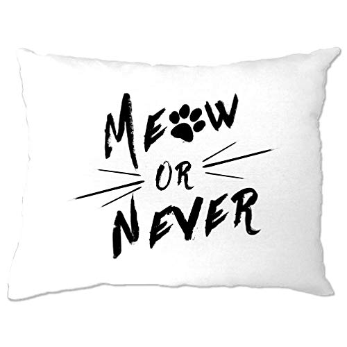 Tim And Ted Novelty Pet Pillow Case Meow Or Never Cat Slogan White One Size