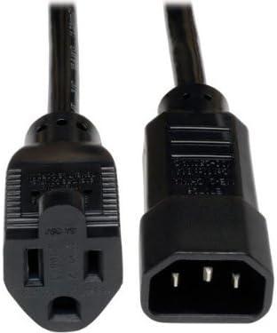 Tripp Lite Standard Computer Power Cord 10A, 18AWG (IEC-320-C14 to NEMA 5-15R) 1-ft.(P002-001-10A) Black