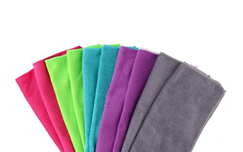 Invero 10 Stück Mehrzweck-Mikrofaser Staubreinigung Trocknen Staubtuch Waschbare Tuch Ideal für Polieren, Haushaltsgeräte, Autos, Fenster, Bars, Büros und mehr