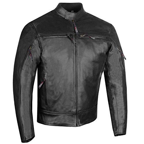 Men's Raider Premium Natural Buffalo Leather Motorcycle Armor Biker Jacket XL