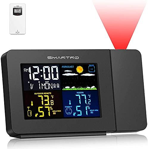 SMARTRO SC91 Projektionswecker für Schlafzimmer mit Wetterstation, Funk-Innen-Außenthermometer, Temperatur-Feuchte-Monitor-Anzeige Hygrometer