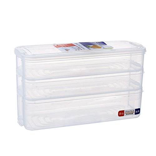 Contenedores de almacenamiento de alimentos, apilables para nevera, congelador, caja de almacenamiento apilable, organizador de bandeja de alimentos