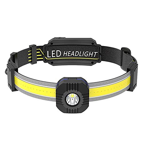 SoeHong Linterna de cabeza LED, portátil XPG+COB lámpara de cabeza con batería incorporada tipo C recargable faro pantalla de alimentación multi-engranajes pesca camping caza luz
