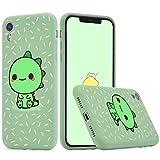 Idocolors Funda Compatible con iPhone 7 Plus/8 Plus Silicona Líquida Microfibra Forro de Cojín TPU Gel Case Anti-Choque Dinosaurio Protección Carcasa - Verde
