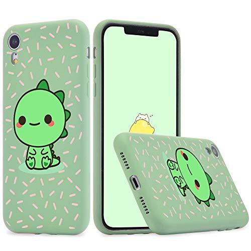 Idocolors Funda Compatible con iPhone 11 Silicona Líquida Microfibra Forro de Cojín TPU Gel Case Anti-Choque Dinosaurio Protección Carcasa - Verde