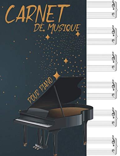 Carnet de Musique pour Piano: Cahier de partitions pour piano | 116 pages à double portée en clef de Sol et Fa avec des pages sommaire | Format A4.