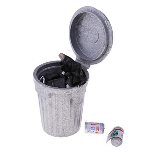 F Fityle Miniatura Basura de Metal Decoración de Hogar Plata para 1:12 Casa de Muñecas