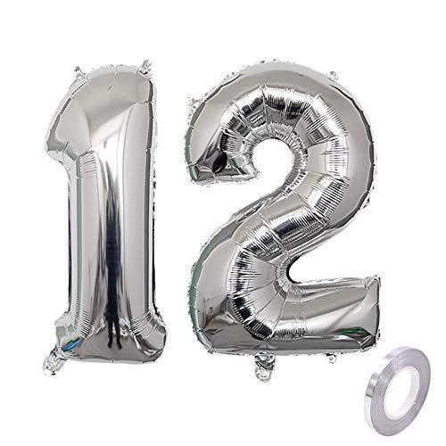 Haosell Party Folienballon Zahl 12 Silber Helium Luftballon Nummer 12 Geburtstag Nummer 12 Geburtstag Party Dekoration Luftballon Geburtstag XL Folienballon 32