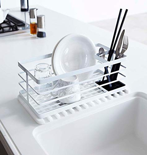 YAMAZAKI home 7445 Self Draining Tray-Drying Board, Dish Drainer Mat, White