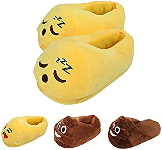 LUA Emoticons Emoji Home Slippers for Women and Mans Plush Fluffy Memory Foam Slippers Warm and Cozy House Shoes Indoor Outdoor