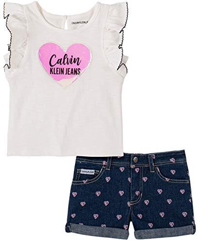 Calvin Klein – Conjunto de Pantalones Cortos para bebé o niña (2 Piezas), Marshmallow/Denim, 3 Años