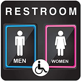"""Unique Unisex Bathroom Sign, Modern Restroom Signage for Office, Restaurant or any Retail Store – 8"""" x 8"""""""