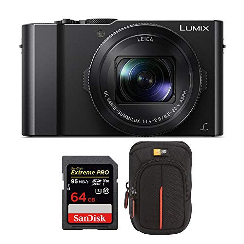 Panasonic LUMIX LX10 4K 20.1MP Digital Camera with Leica 24-72mm Lens (Black), 64GB SD Card, and Camera Case Bundle