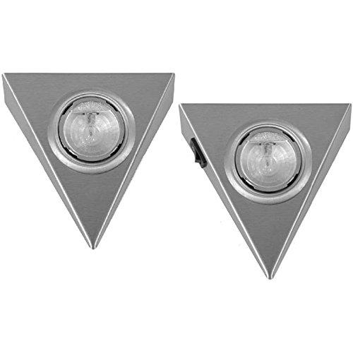 Dreieckleuchte 2er Set Halogen Pyramiden Leuchten mit Schalter ein Strahler im Set mit Hauptschalter inklusive 12 V Trafo und Stecker am Strahler AMP Stecksystem 20 Watt Unterbauleuchte mit Reflektor Anbauleuchte Unterbaustrahler Dreieck Dreieckstrahler Küche Küchenstrahler