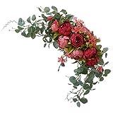 Yihaifu Falsificación Flor Artificial Garland Puerta Guirnalda de simulación Falsa Corona de Flores Artificiales Guirnalda Floral Oficina Decoración Fuera de la Florida, Vintage Red