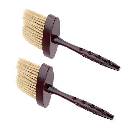 Homyl 2x Balais à Cou Brosse à Cheveux à Poli Longue Poignée Brosse de Nuque Nettoyage pour Nuque de Salon de Coiffure