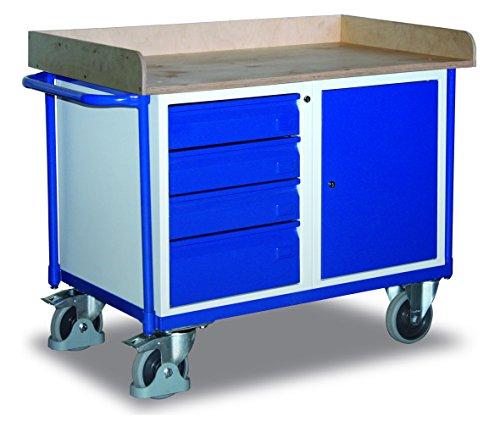 Werkstattwagen mit 1 Schrank, 4 Schubladen und 1 Ladefläche