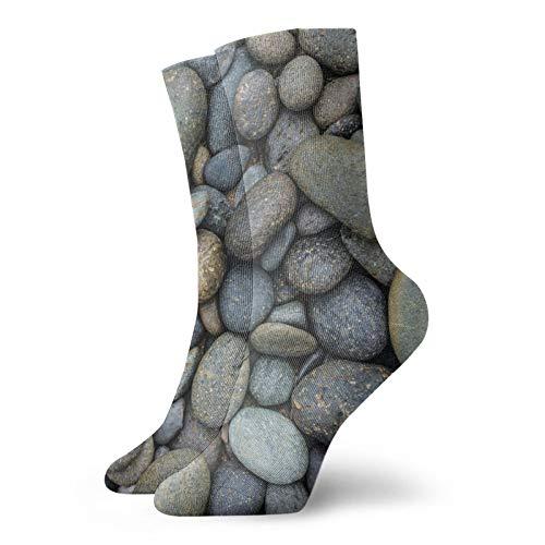 Calcetines cortos para hombre y mujer con piedras negras y cálidas para adultos, estilo tripulado, para senderismo y senderismo