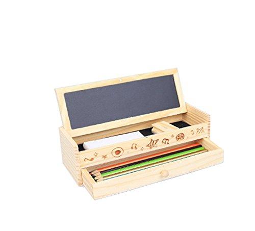 Cosanter papelería japonesa y coreana multiuso caja de lápices de madera caja de bricolaje creativo cajón de los niños caja de color en caja