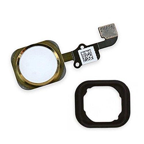 XcellentFixParts Pulsante Home per iPhone 6/6 Plus (Oro) Cavo Flessibile, Home Button Con Guarnizione di Gomma Preinstallati