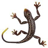 GARNECK Metal Gecko Outdoor Wall Decor Lizard Garden Yard Art Gecko Figurine Animal Hanging Metal Wall Sculptures Decorations forGarden Indoor Outdoor Decor Coffee