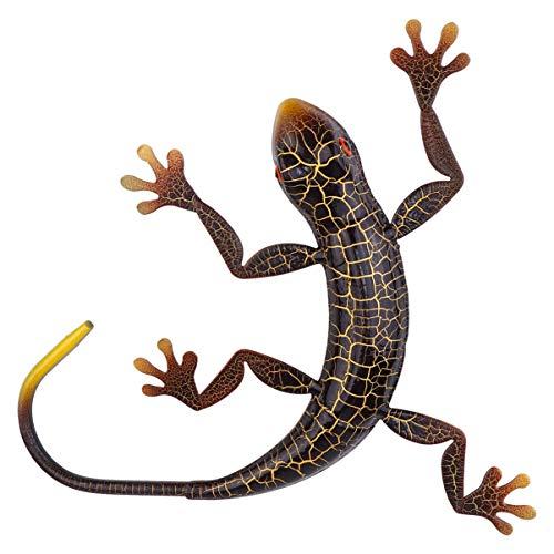 Nbrand Métal Gecko Extérieur Mur Décor Lézard Jardin Yard Art Gecko Figurine Animal Suspendu Métal Sculptures Murales Décorations pour Jardin Intérieur Extérieur Décor Café