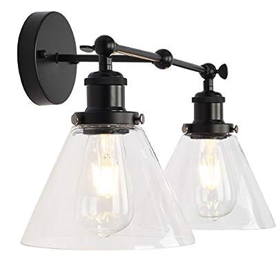 LMSOD Bathroom Vanity Lights, Black Industrial Farmhouse Wall Light Fixture with Clear Glass Shade (2 Lights)