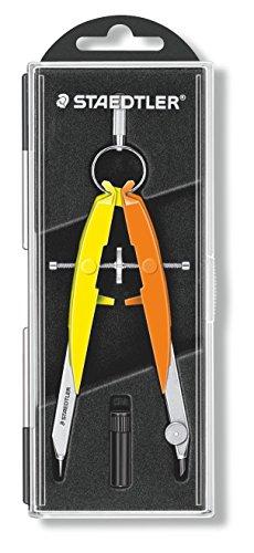 STAEDTLER Mars Comfort Zirkel, Geometriezirkel, Etui mit Klappdeckel, neon gelb-orange, 556 00-N3