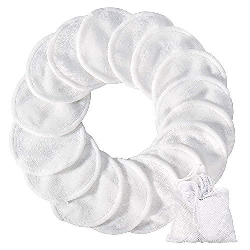 Oyfel Tampons Démaquillants fibre en Bambou 18 Pcs Blanc, Disques Coton Demaquillant Lavable et réutilisable Avec Sac, Fibre de Bambou + velours,Tampons Nettoyage Lavable Du Visage