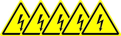 Label-Zeichen ISO Sicherheit - Internationale Warnung, Elektrizität Symbol - Selbstklebende Aufkleber 100mm Durchmesser (Packung mit 5 Sticker)