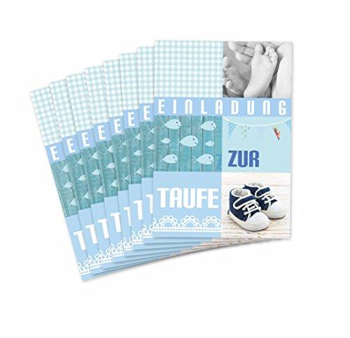 Einladungskarten Taufe für Jungen/Einladung in Hell Blau Pastell Tönen/süße Einladungen für Tauffeier Junge / 8 Stück im Set (Taufeinladungen blau)