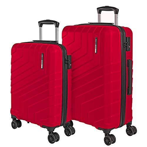 Set Maletas Rigidas - Trolley de Mano y de Bodega Ligero ABS - Equipaje de Viaje con Mango Telescópico de Aluminio - Cerradura TSA y 4 Ruedas Dobles Multidireccionales - Perletti Travel (Rojo, S+M)