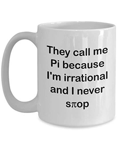 WTOMUG Pi Day Mug - They call me Pi because - Gift For Pi Day Celebration Mathmatic Teacher White Coffee Mug 11oz