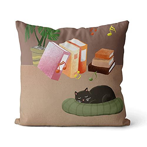 KLily Cartoon Cat Pattern Cuscino Decorativo Cuscino Domestico Cuscino Quadrato Cuscino Cuscino Rimovibile E Lavabile Cuscino in Vita Cuscino Cuscino