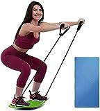 Twisting Fitness Balance Board con Bande di Resistenza E Pad Antiscivolo per Adulti Muscoli Addominali E Gambe Balance Fitness,Verde